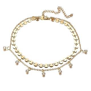 Lnlyin multistrato paillettes campane ciondolo collana girocollo clavicola catena regalo per donne e ragazze As description Gold