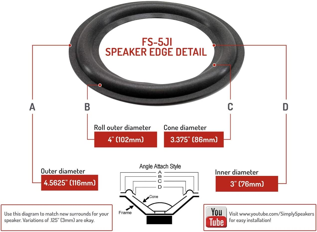 Mirage 5 Speaker Foam Surround Repair Kit 5 Inch Electronics Audio ...