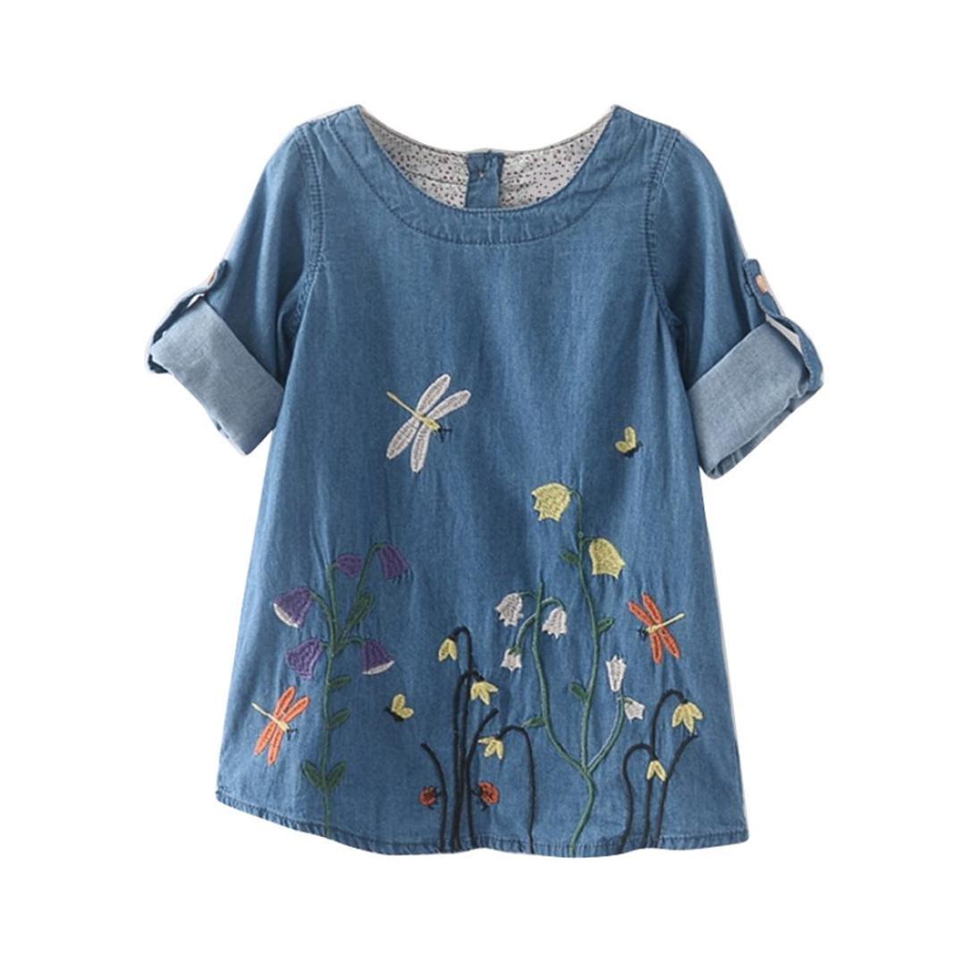 xilaluキッズ赤ちゃん女の子ドレスフラワー刺繍デニムプリンセス服 4-5 Years ライトブルー B06XRFW69S