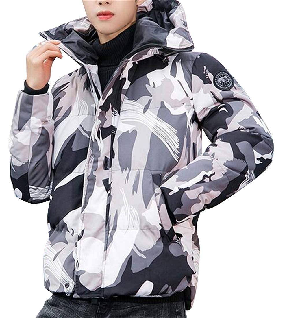 Fubotevic Mens Winter Camo Thermal Hoodie Thicker Quilted Jacket Parka Coat Outerwear