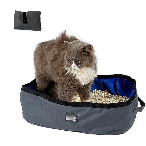 Caja de Arena Plegable para Gatos, Impermeable Portable y Lavable 46*35*14cm