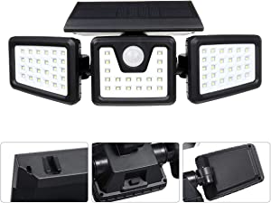 Solar Lights Outdoor, Cloudlight 70 led Solar Security Lights with Motion Sensor 3 Heads spotlights Waterproof 360° Adjustable Flood Lights for Yard Garden and Any Places Exposed to Sunlight