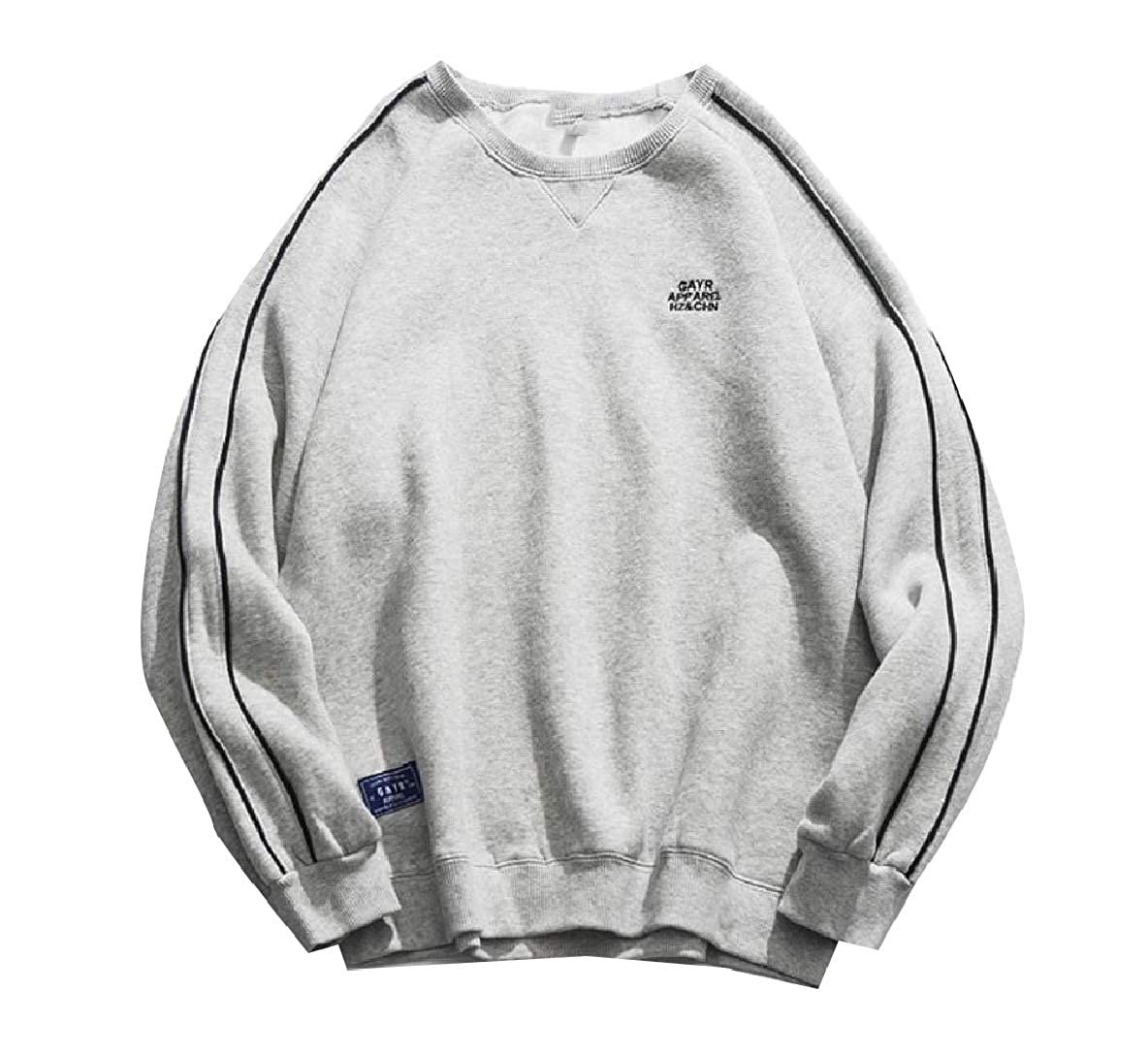 Coolred-Men Fleece Fall Thicken Casual Round Neck Sweatshirts T-Shirt