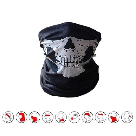 Masque écharpe Tour Cou Multifonction 10 en 1 tête de Mort pour Moto, Ski, bbeb0199f32