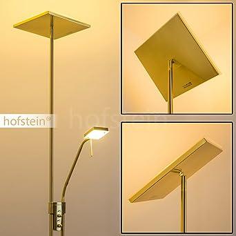 led stehlampe agello deckenfluter in messing mit 1620 lumen stehleuchte led wohnzimmer mit leselampe - Wohnzimmer Stehlampe Led