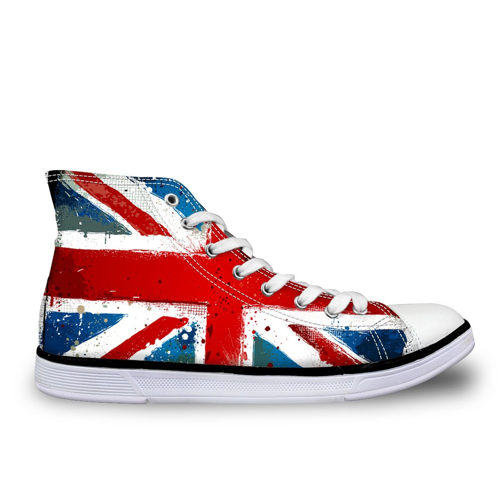 CHAQLIN US UK Flag Star Casual Canvas Shoes Unisex High Top Lace up Flat Fashion Sneakers Unisex US 8.5 B(M)=EUR 40|Ca5442ak