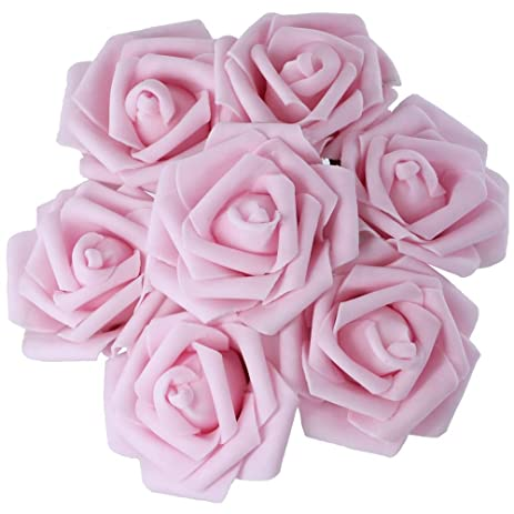 Amazon 50pcs real touch real looking pe foam pink artificial 50pcs real touch real looking pe foam pink artificial roses artificial flowers for wedding bouquets centerpieces mightylinksfo