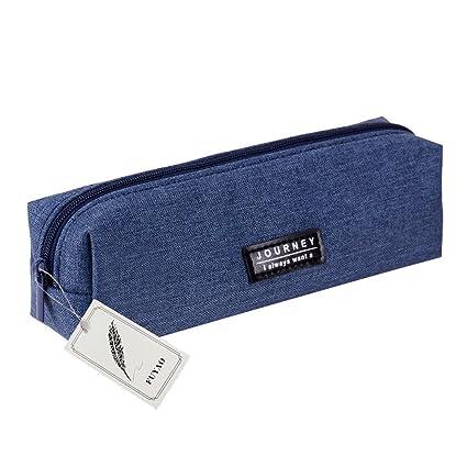 Fuyao - Estuche de lona con 3 bolsillos de gran capacidad para lápices y bolígrafos de papelería escolar, bolsa de cosméticos, monedero para ...