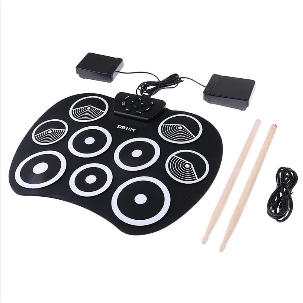 Liweibao-Music Portable Roll Up Drum Kit Digital USB Roll-up Silicone Portable Foldable Electronic Drum Pad Kit with Stick and Foot Pedal for Kids Children Beginners by Liweibao-Music