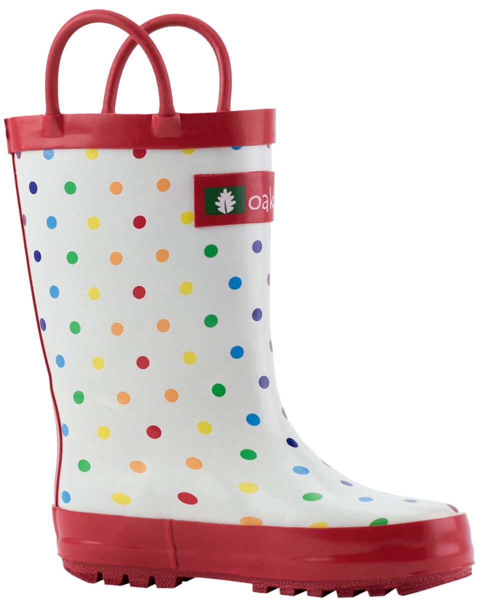 Oakiwear Kids Rubber Rain Boots with Easy-On Handles, Rainbow Polka Dots, 12T US Toddler