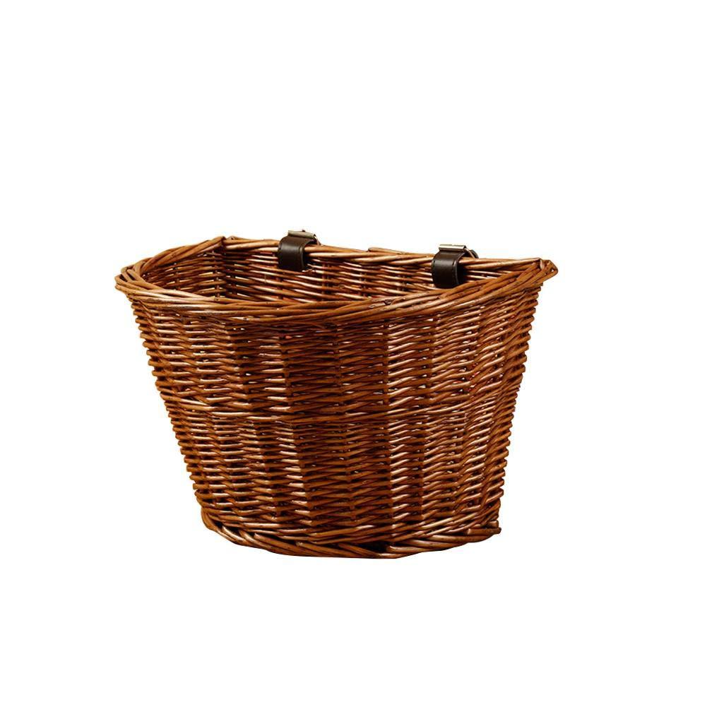 Mignon84Cook Fahrradkorb mit Lederriemen fü r Mä dchen, Damen, Herren und Gä rtner, handgefertigt, Retro-Stil, handgefertigt, aus Weidengeflecht braun