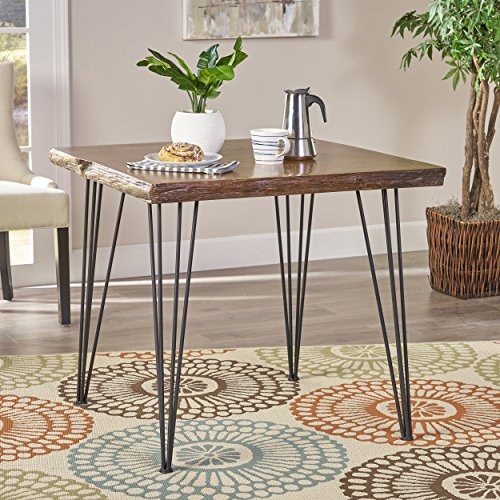 Great Deal Furniture 304813 Aneissa Industrial Faux Live Edge Square Dining Table, Natural, Black