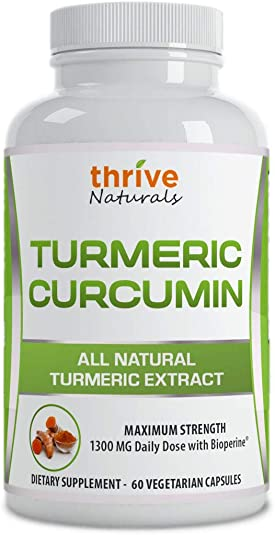 Thrive Naturals Turmeric Curcumin with BioPerine – 60 Vegetarian Capsules 1 Pack