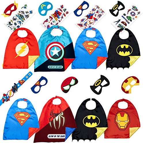 Superhero Costumes Boys Christmas Toys - 8 Super Hero Capes Masks Kids Toddler