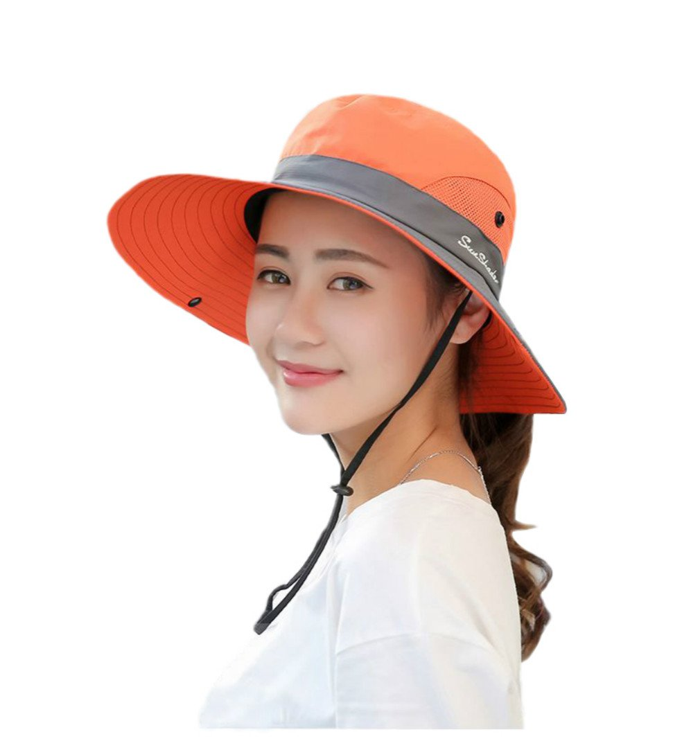 iHomey Women's Wide Brim Sun Hat Flodable UV Pretective Mesh Outdoor Summer Camping Bucket Hat with Ponytail Opening