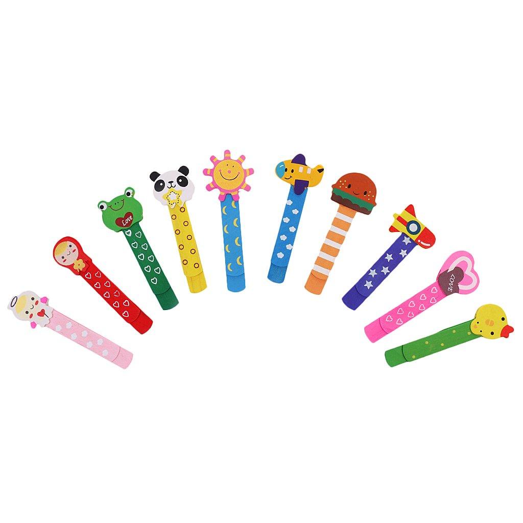 Sharplace Kit di 10 pezzi Fumetto Bella Segnalibro in Legno Clip di Carta Per Bambini