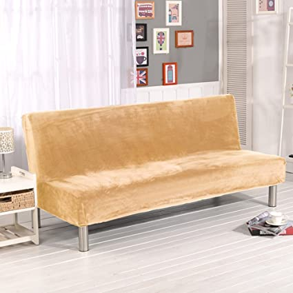 Folding Armless Sofa Futon Cover Simple Solid Color Beige Plush Modern Home  Furniture Seater Protector Couch