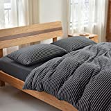 Libaoge 4 Piece Bed Sheets Set, Black White Stripe Revesible Print, 1 Flat Sheet 1 Duvet Cover and 2 Pillow Cases