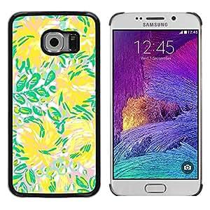 FECELL CITY // Duro Aluminio Pegatina PC Caso decorativo Funda Carcasa de Protección para Samsung Galaxy S6 EDGE SM-G925 // Green Flowers Flow Summer