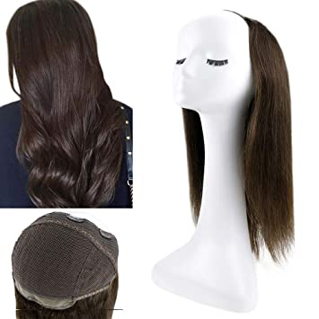 Amazon Com Full Shine Human Hair Extensions 12 Inch Short Hair Half Wigs 100 Gram Remy Clip In Hair Piece U Shaped Wigs Straight Hair Extensions Darkest Brown Hair Wigs U Part Wigs