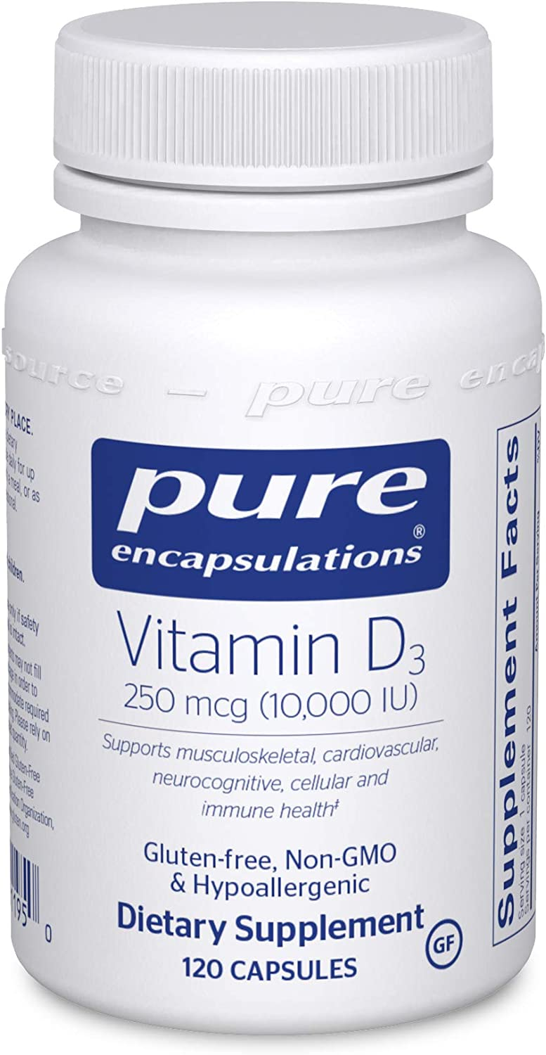 Amazon Com Pure Encapsulations Vitamin D3 250 Mcg 10 000 Iu Hypoallergenic Support For Bone Breast Prostate Cardiovascular Colon And Immune Health 120 Capsules Health Personal Care