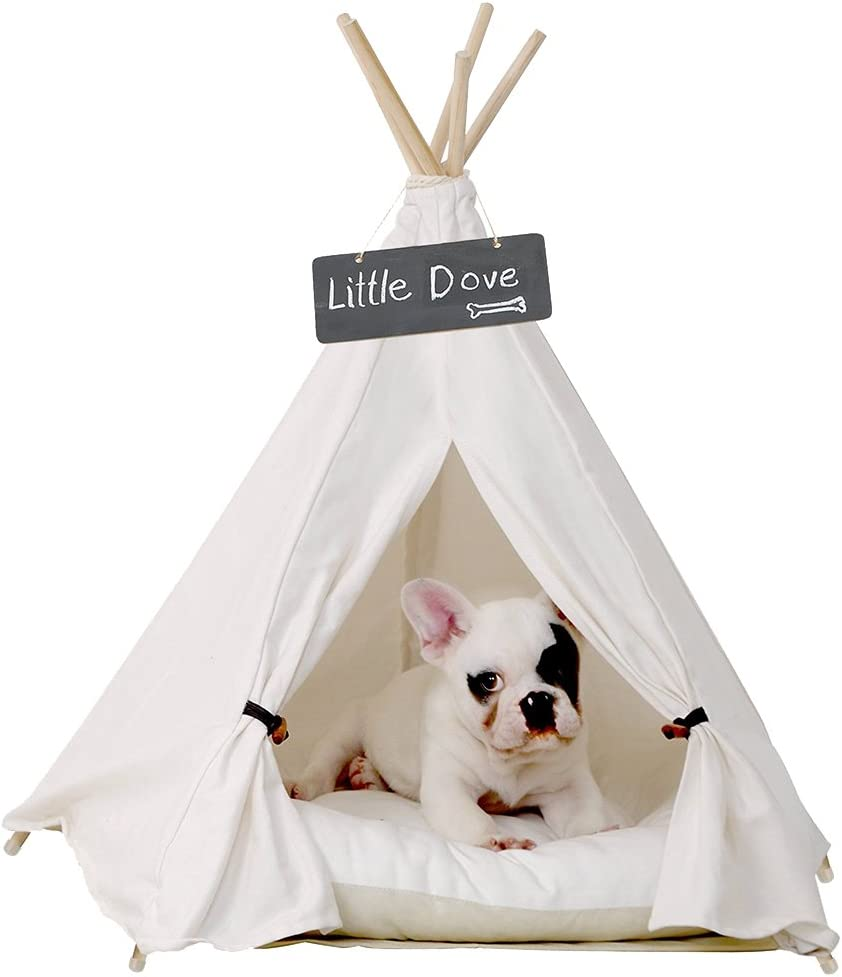 little dove Pet Teepee Dog Puppy Cat Bed – Portable Pet Tents Houses for Dog Puppy Cat Beige Color 24 Inch with or Without Optional Cushion
