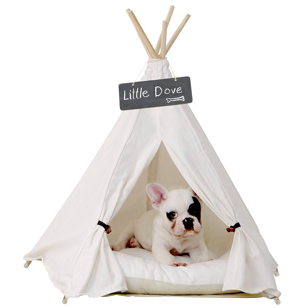 little dove Pet Teepee Dog(Puppy) & Cat Bed - Portable Pet Tents & Houses for Dog(Puppy) & Cat Beige Color 24 Inch with Thick Cushion