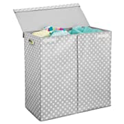 mDesign Extra Large Divided Laundry Hamper Basket with Lid - Portable, Foldable for Compact Storage - Double Hamper Design for Nursery, Girl's Room, Kid's Playroom - Fun Polka Dot Print - Gray/White