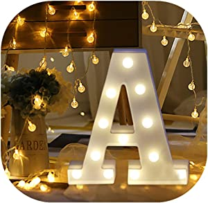 Hot Sale Letter Lights,Keepfit Light Up White Plastic Standing/Hanging Alphabet/Number Light Decorative Lights Signs for Home Party(A, 8.7