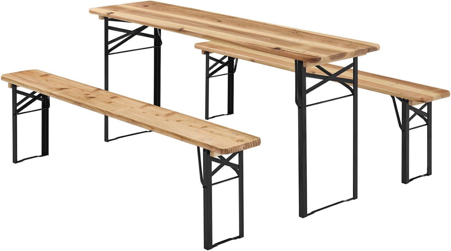 Juskys Holz Bierzeltgarnitur 175 x 46 cm   klappbar   3-teilig   2 Bierbänke & Biertisch   Festzeltgarnitur Biertischgarnitur Gartenmöbel-Set