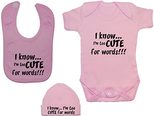 e6fdffda304 Acce Products I Know... I m Too Cute for Words Baby Bodysuit Romper ...