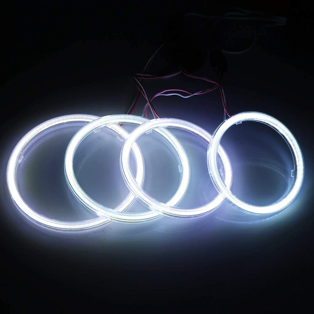 Qiilu 1pair Auto Halo Rings Angel Eye COB Chips Headlight DRL LED For Motorcycle Car 100mm