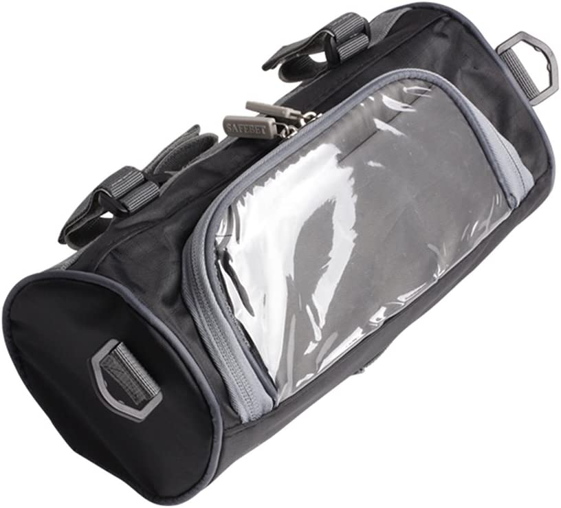 Motorcycle Storage Bag,Motorcycle Handlebar Bag,Upgrade Your Ride-Large Capacity Touch Screen Small Bag Removable Shoulder Strap Waterproof-Motorcycle Front Handlebar Fork Storage Bag Container Blac