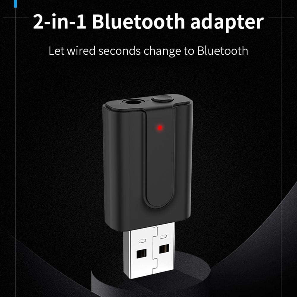 Tenlso 2 en 1 Adaptador Transmisor Receptor de Audio Inal/ámbrico USB BT 5.0 Equipo Port/átil Audio para TV//iPod//Reproductor de CD//PC//MP3//MP4//Altavoz