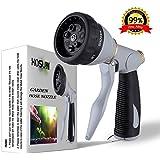 HOSUN Garden Hose Nozzle High Pressure Heavy Duty Metal Hose Spray Nozzle 7 Adjustable Spray Patterns Hand Type Hose…