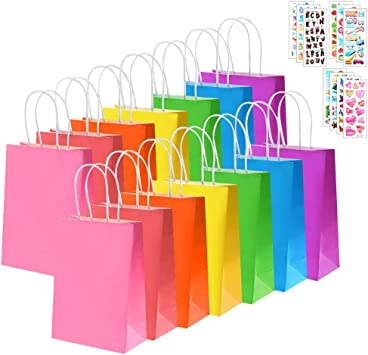 Amazon.com: Bolsas de regalo de papel kraft con asa, 28 ...