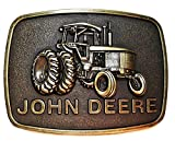 John Deere Tractor Logo Antique Bronze Metal Belt Buckle