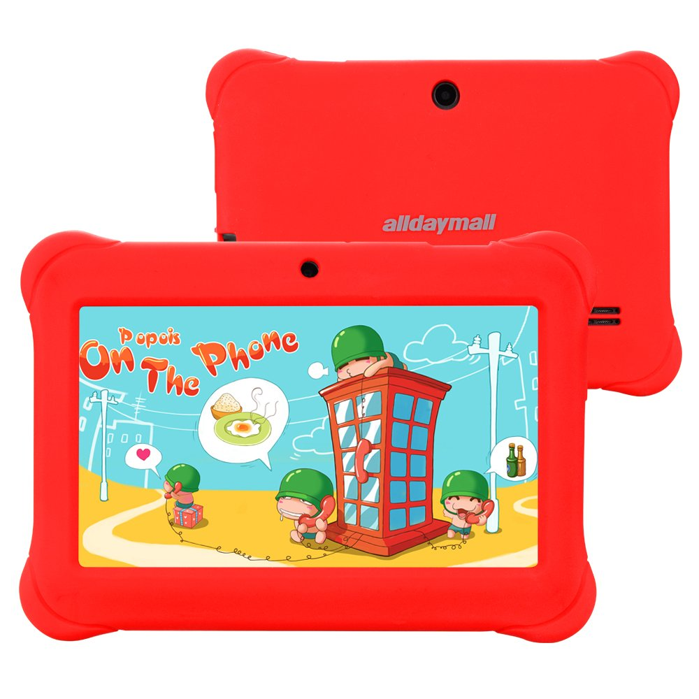 Alldaymall 7'' Android Tablet For Kids With Wi-Fi Quad Core and Dual Camera, 8GB, HD Kids Edition w/ iWawa Pre-Installed (A88S with Red Kid-Proof Silicone Case)