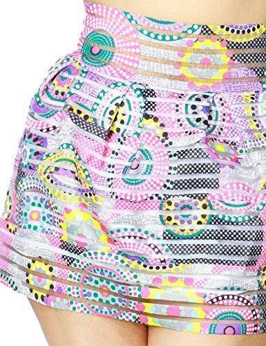 Women's Cute Psycadellic Print Stripe Textured Bell Mini Skirt Zipper Back Closure (LARGE, FUCHSIA-PS613)