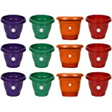 Kraft Seeds Pot for Garden and Balcony Flowering (8 inch, Multicolour, Pack of 12)