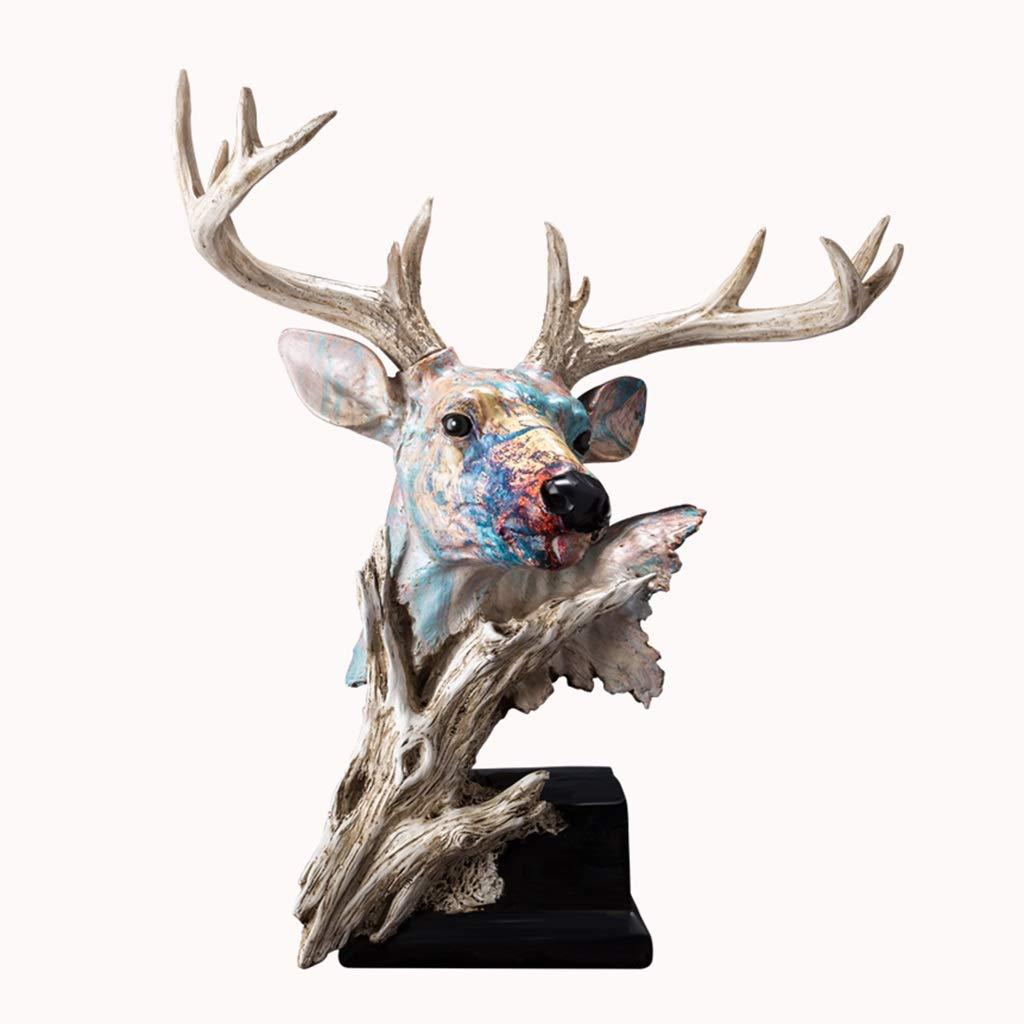 装飾材料 鹿の頭飾り動物像樹脂卓上飾りヨーロッパの宝石類の居間ワインキャビネット工芸品 (Color : Color, Size : 35*21*41cm) 35*21*41cm Color B07T9ML5P4