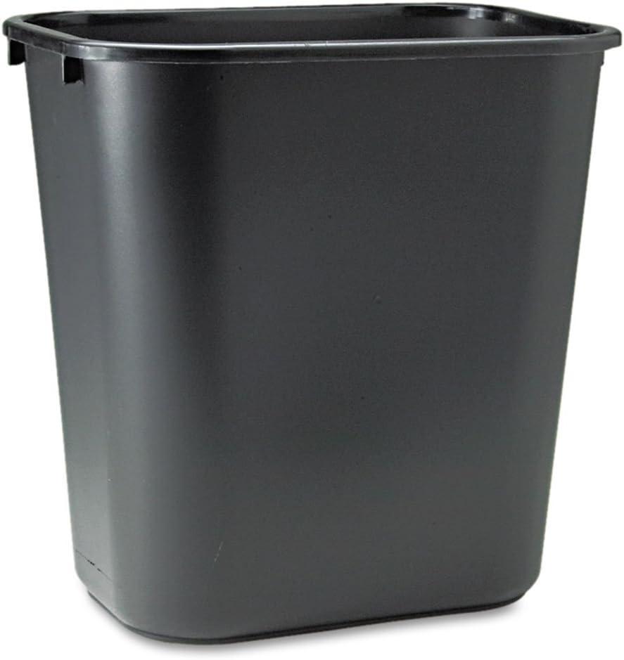 Rubbermaid Commercial Soft Molded Plastic Wastebasket, 7 Gal, Black