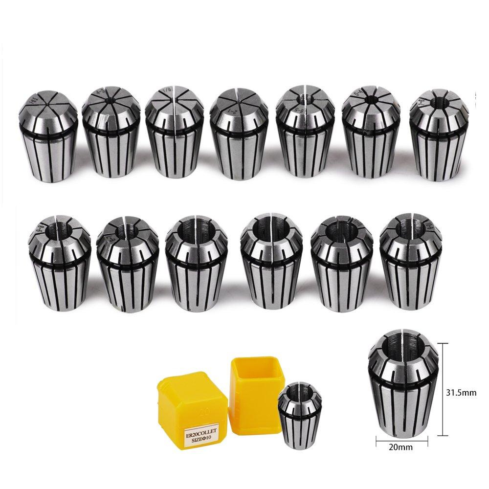 ER20 Collet Set, TopDirect 13pcs ER20 1-13mm Spring Collet Set Chuck Collet for CNC Spindle Engraving Machine & Milling Lathe Tool