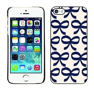 X-ray Impreso colorido protector duro espalda Funda piel de Shell para Apple iPhone 5 / iPhone 5S - Bow Bowtie Blue White Pattern Clean
