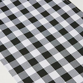 noir et blanc Trlyc lavable en machine Polyester Checker Lattice chemin de table 13x60-Inch Autre