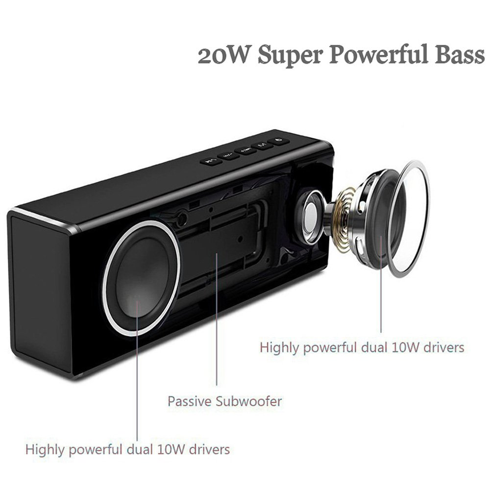 20w Handsfree Wireless Speaker - Portable Outdoor Bluetooth Speaker Super Bass - Power Stereo Sound USB Rechargeable Speaker Built-in Mic, Best for Home, Beach, Party, Travel by CHEE MONG (Image #3)