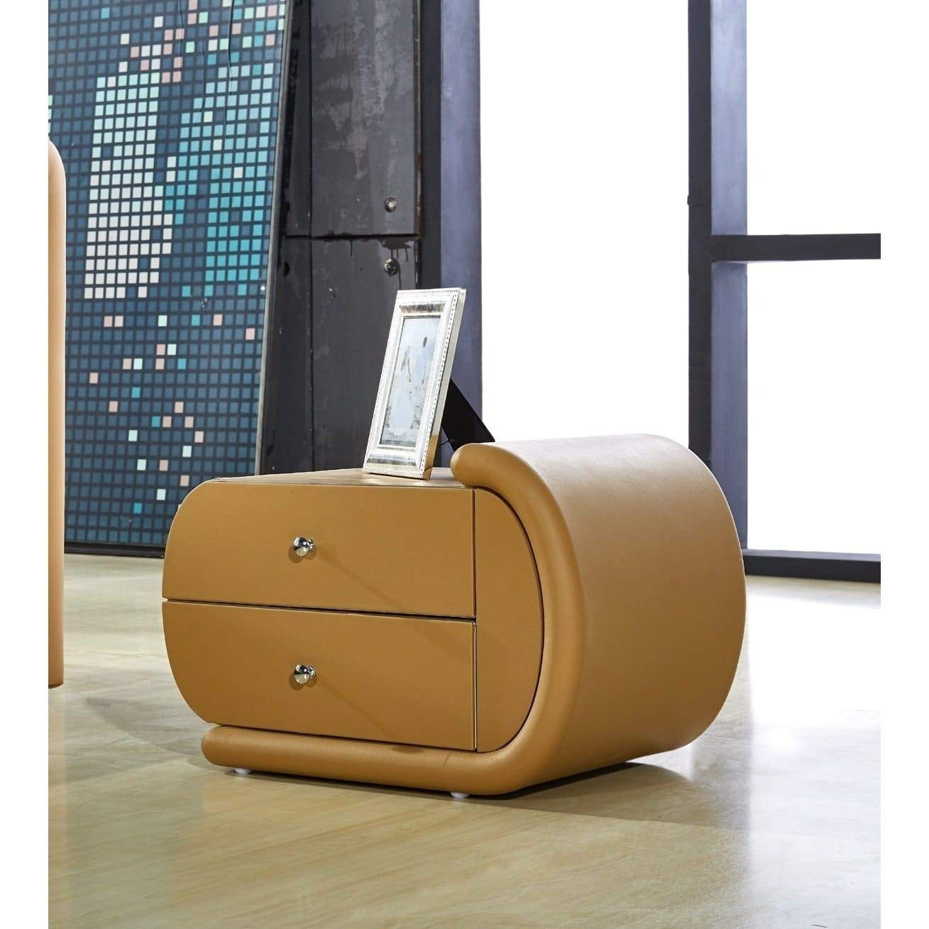 Amazon.com: US Pride Furniture Zoe Camel Brown Faux Leather Oval Nightstand  Right: Kitchen U0026 Dining