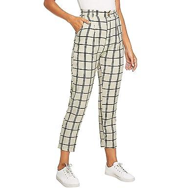df11f0128ed JOFOW Pants Womens Plaid Straight Leg Capri High Waist Slim Casual Elegant  Cropped Cigarette Pencil Trousers