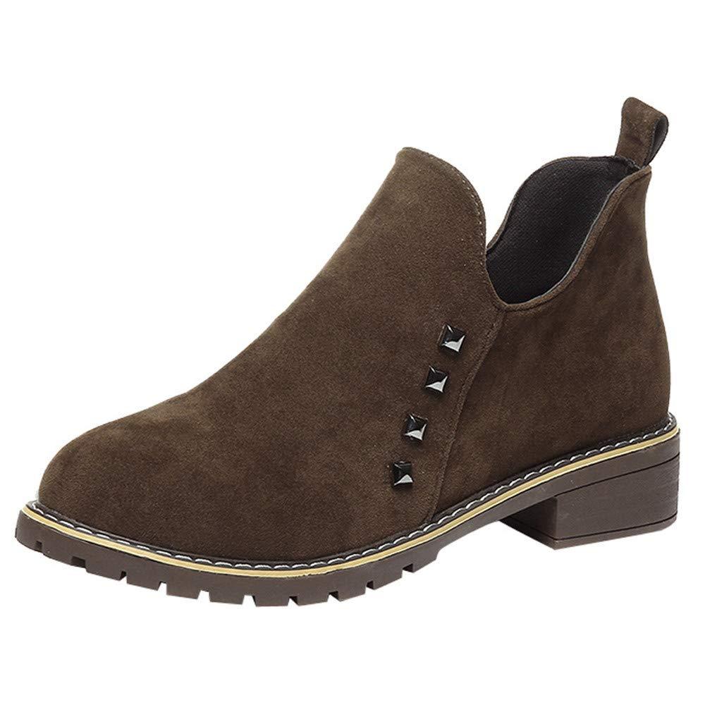 Logobeing Botines Mujer Tacon Planos Moda Remaches Zapatos Planos Martain Boots Botas de Cremallera de Gamuza Zapatos de Punta Redonda Plataforma (Khaki, 35)