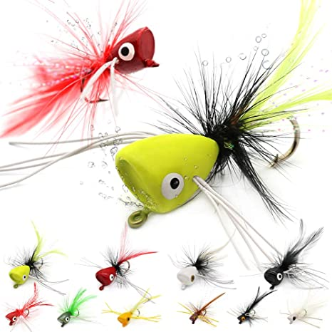 5 Fly Fishing Frog Poppers Flies Large Mouth Bass #1 Hooks Trout Panfish  Bass
